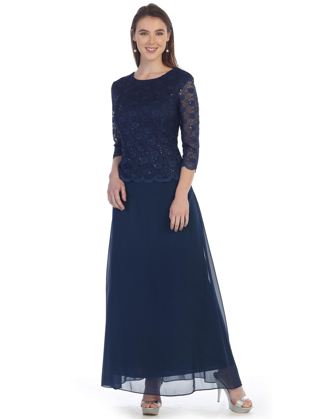 Chiffon overlay three quarter sleeve dress online