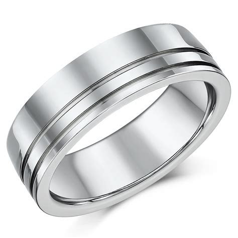 High Polished 7mm Mens Titanium Patterned Wedding Ring