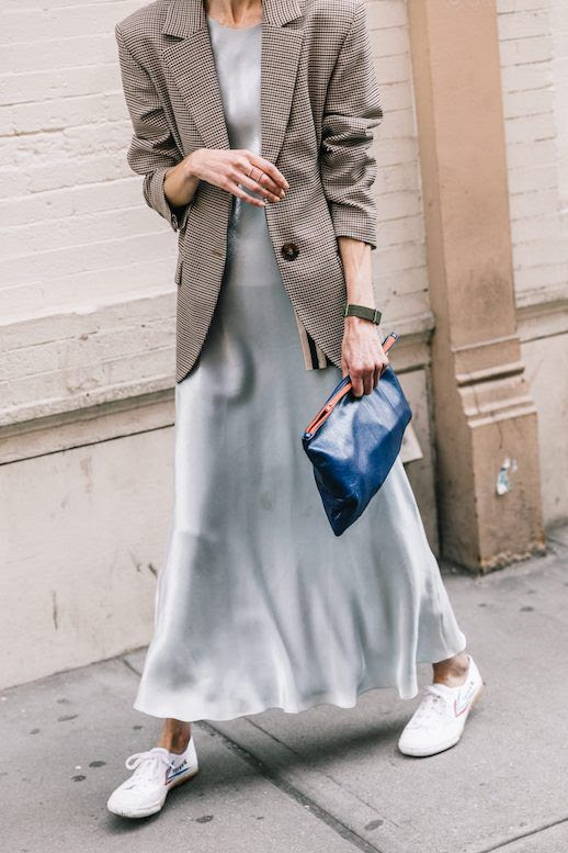 Le Fashion Blog NYFW Menswear Plaid Blazer Slip Dress Blue Clutch White Sneakers Via Collage Vintage
