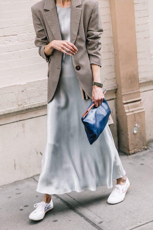 Le Fashion Blog NYFW Menswear Plaid Blazer Slip Dress Blue Clutch White Sneakers Via Collage Vintage