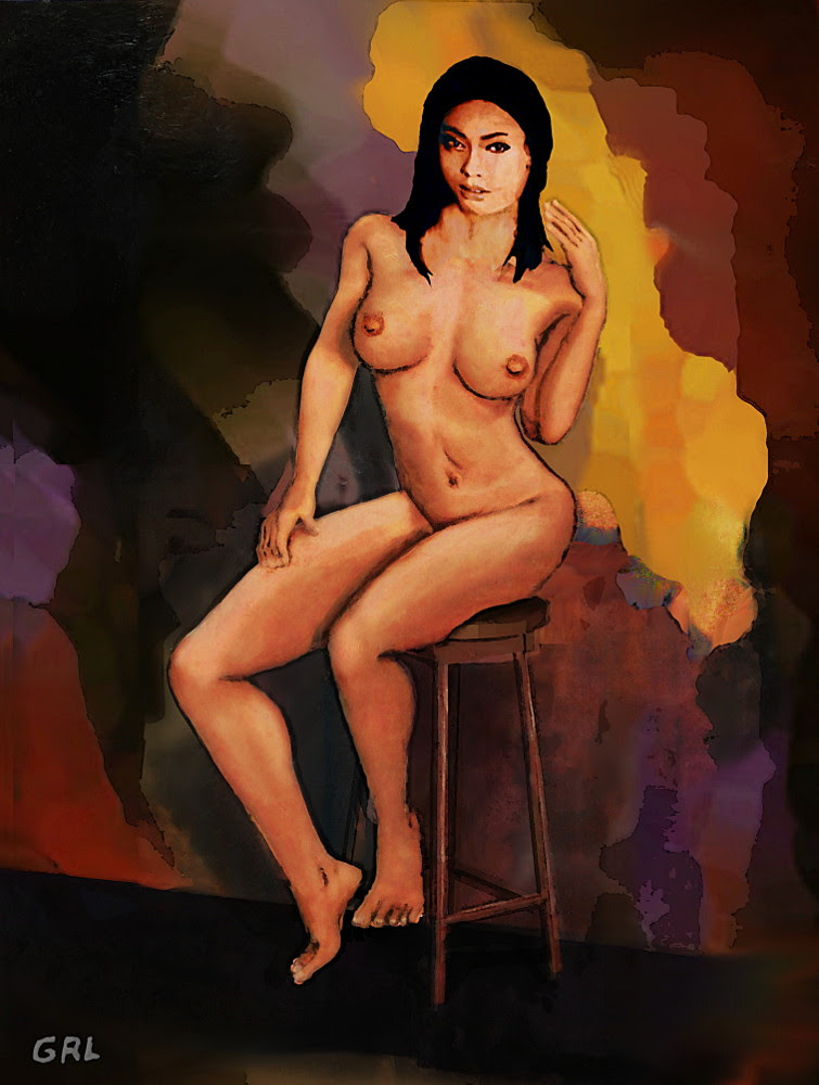 Fine Art Female Nude Vanna Pose2c Multimedia Painting. $18 to $24, medium-size prints. Free downloads, wallpaper. Fine art work nudes paintings figures figurative, #GrlFineArt. Multimedia Acrylic/oil Painting... fine art painting, female nude sitting on dark black, red, orange background; a classical motif in a contemporary style. Art fineart nudes painting paintings prints ...