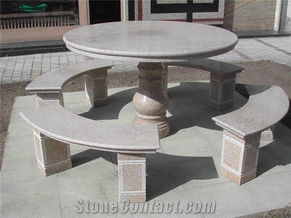 Natural Stone Granite Table Benches Garden Patio Table ...