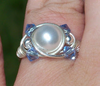 wire wrapped sparkly crystal ring by Candice