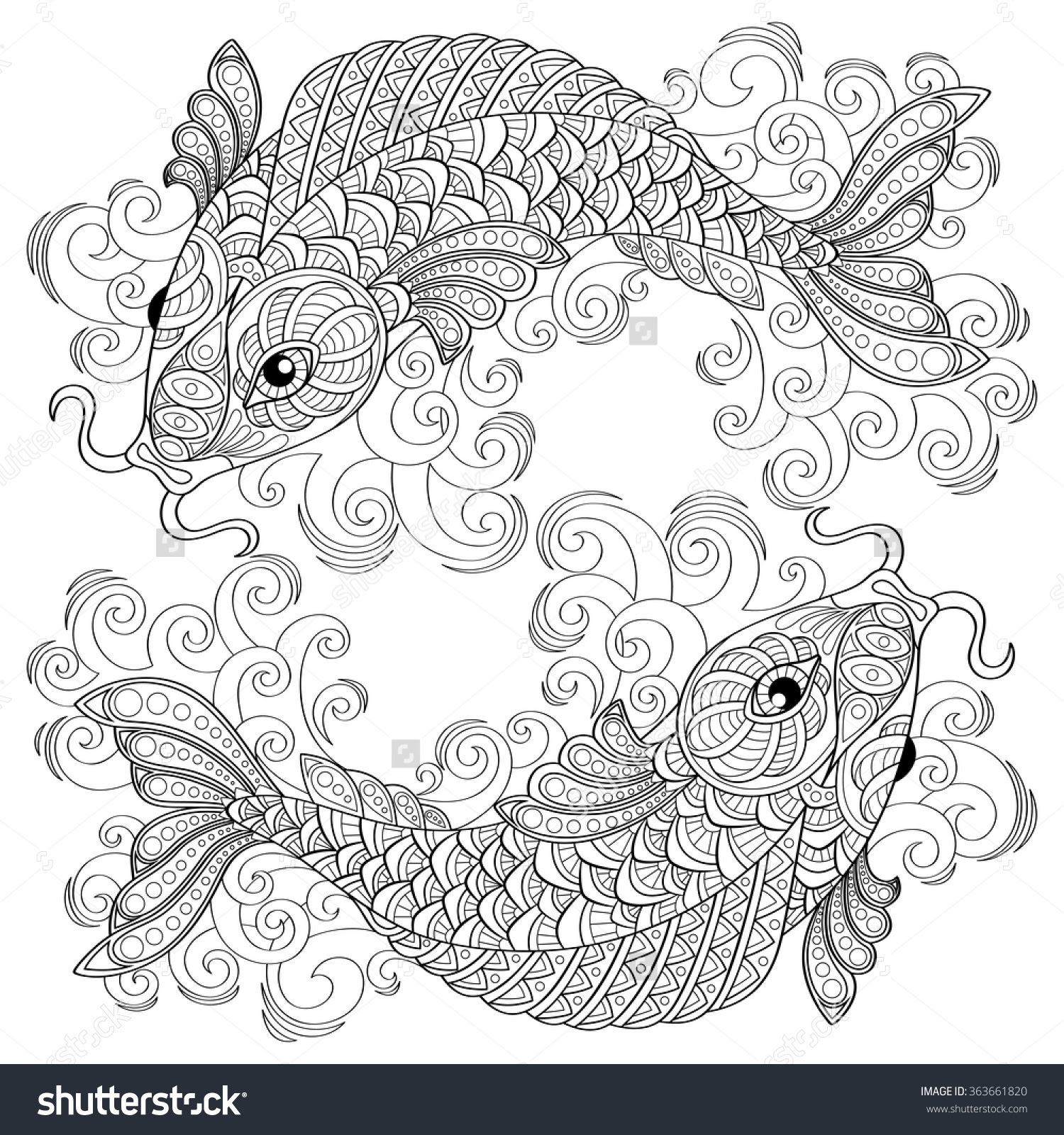 Koi Fish Coloring Pages For Adults Free Printable Koi Fish