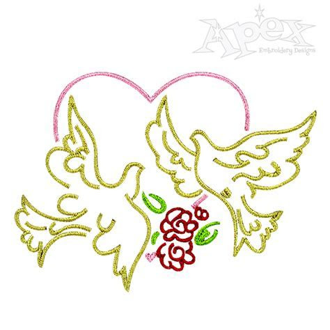 Hearts and Doves Valentines Day Embroidery Designs