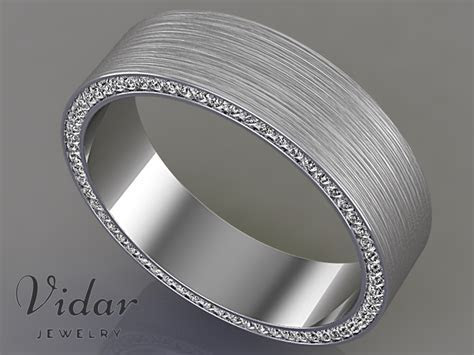 Comfort Fit Diamond Mens Wedding Band.   Vidar Jewelry