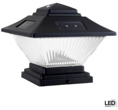 Hampton Bay Outdoor Lighting. Post-Cap Outdoor Black Solar LED