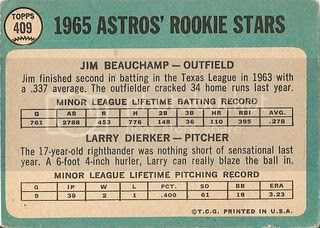#409 Astros Rookie Stars: Jim Beauchamp and Larry Dierker (back)