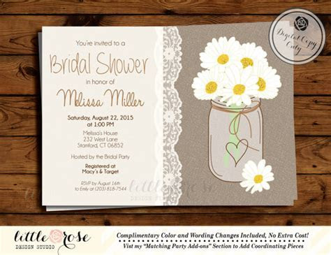 Daisy Mason Jar Bridal Shower Invitation   Country Wedding