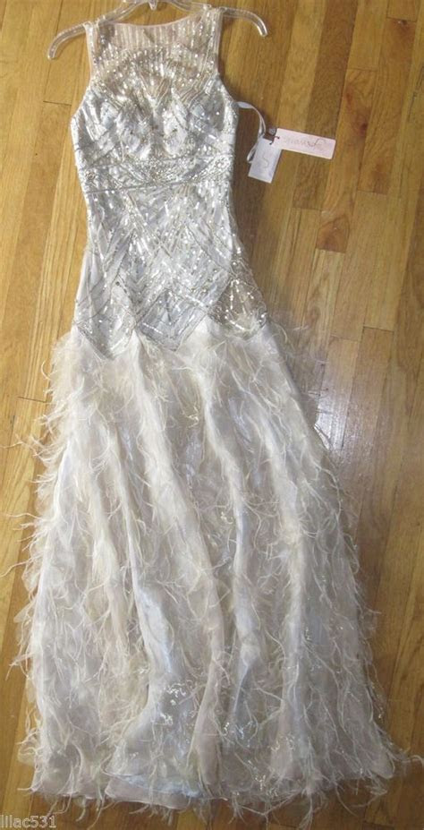 sz  sue wong feather gown long dress wedding homecoming