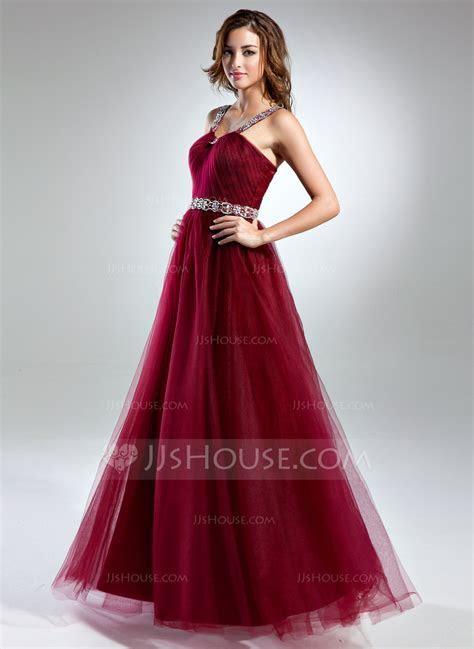 A Line/Princess Scoop Neck Floor Length Tulle Prom Dresses