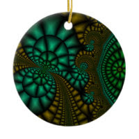 Abstract Black, green, and gold ornament