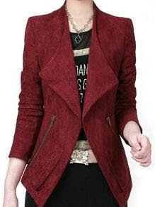 Wine Red Lapel Zipper Casual Blazer