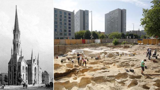 Iglesia de San Pedro en 1850 y tumbas se descubrieron en 2008