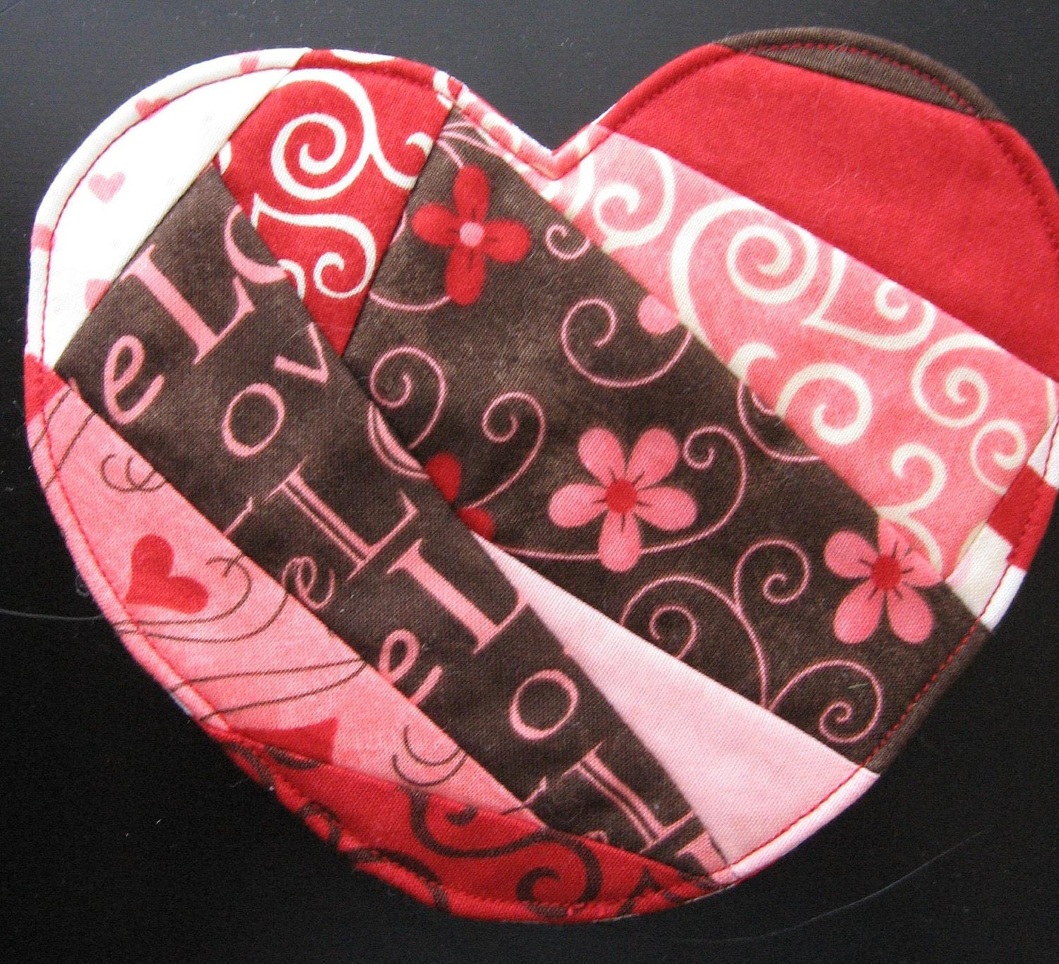Scrappy Red and Pink Heart Coaster No. 3 for Valentine's Day, Free Shipping