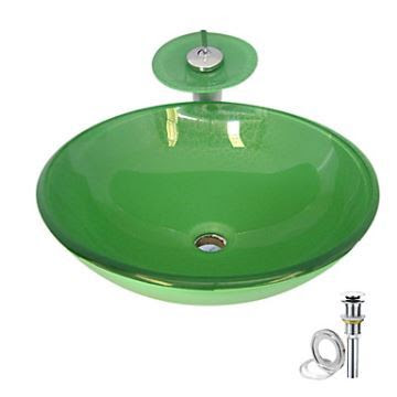 Faucets Sink And Faucet Sets Green Tempered Glass Vessel Sink