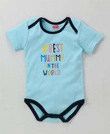 Babyhug Short Sleeves Onesie Text Print - Aqua Blue