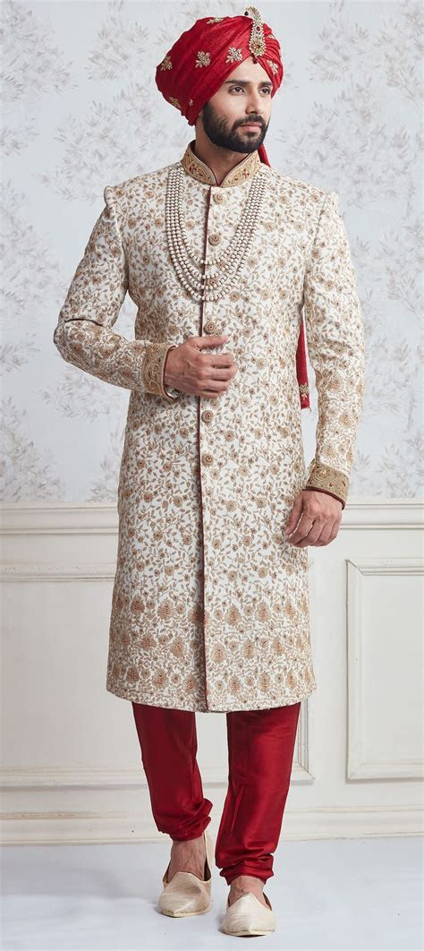 Silk Sherwani in White and Off White with Lace work   suit