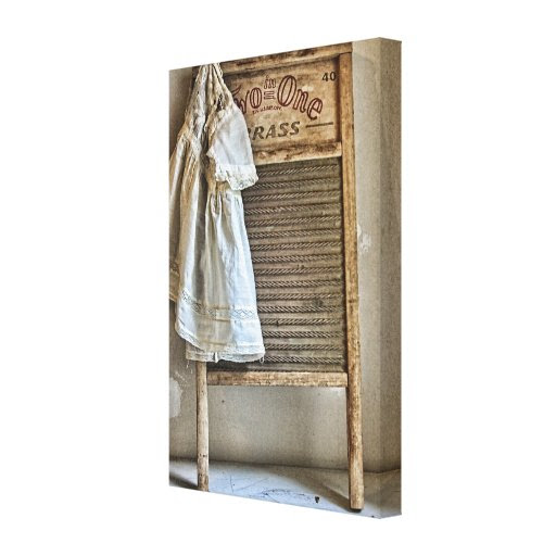 Vintage Antique Laundry Room Decor Gallery Wrap Canvas from Zazzle.
