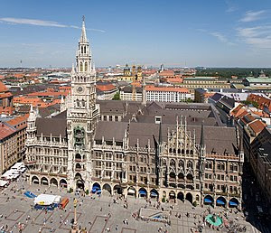 The Rathaus and Marienplatz from Peterskirche ...