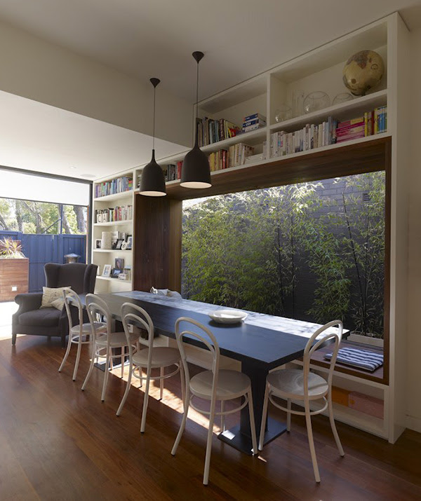 Small modern home outfitted with the coolest window seat | Modern ...