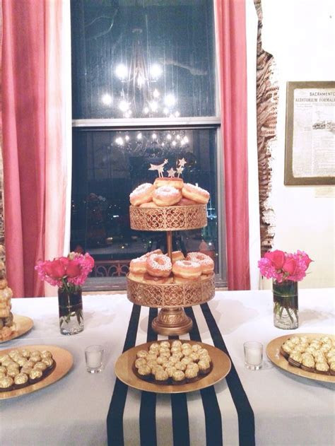 Fab 40th: dessert table, donuts, donut tower, black and
