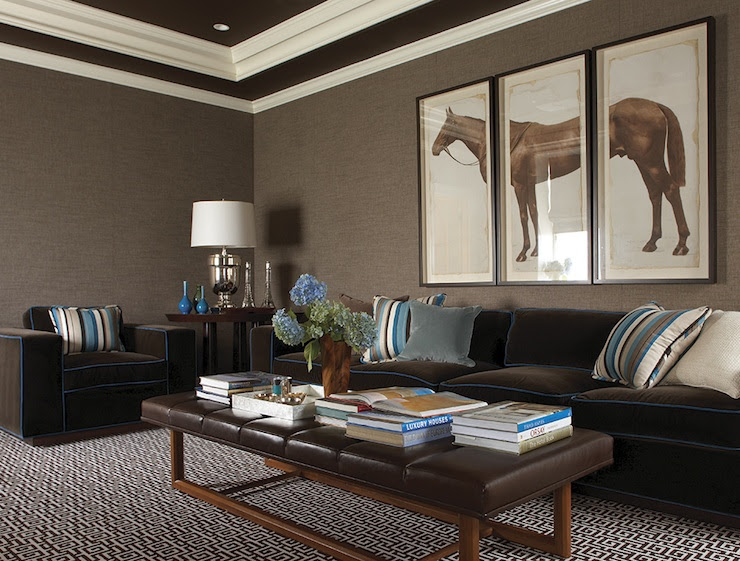 Brown Leather Ottoman Coffee Table - Contemporary - basement