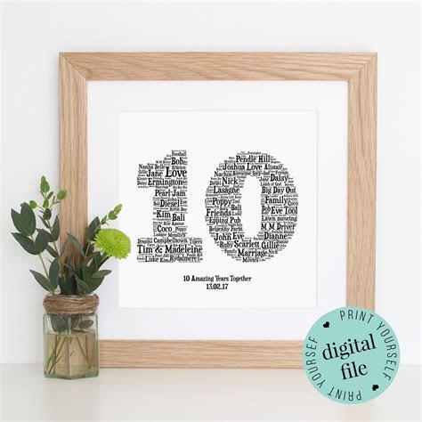 10TH ANNIVERSARY GIFT   Word Art   Printable Gift   10