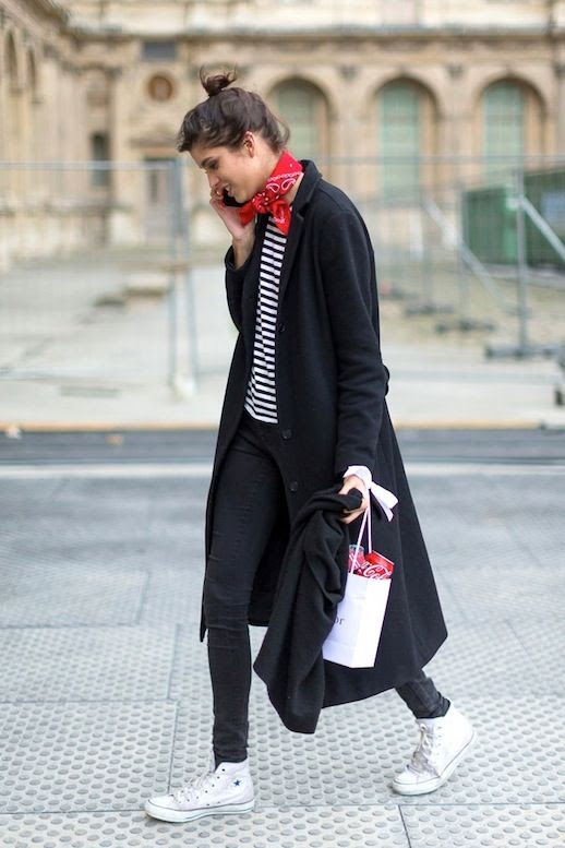 Le Fashion Blog Street Style Pfw Red Bandana Scarf Long Black Coat Striped Tee Skinny Jeans High Top Converse Sneakers Via Harpers Bazaar