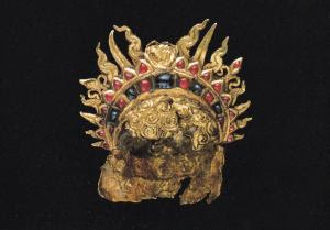 Headdress with Radiate Tiara , Gold Inlay with Rubies and Sapphirres, 4th to 5th Century AD (Cribb 1992)