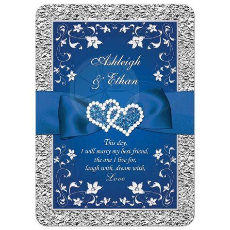 Royal Blue Wedding Invitation   FAUX Foil, Silver Floral