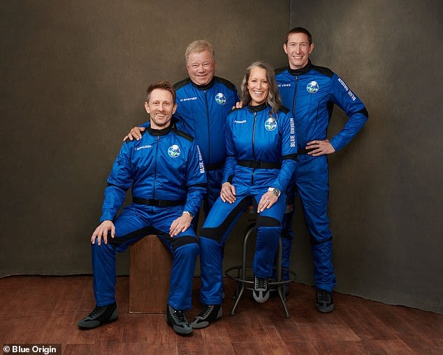 Meet the crew of NS18! Blue Origin shares a new photo of the four astronauts preparing to launch into space tomorrow, including Star Trek legend William Shatner, 90, who jokes 'aren't we adorbs?'