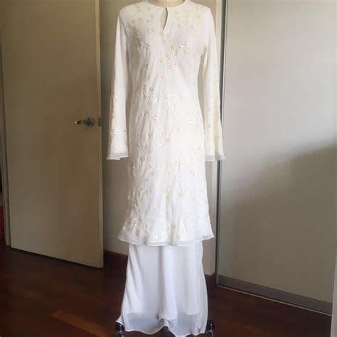 baju kurung modern nikah putih cream size  fesyen