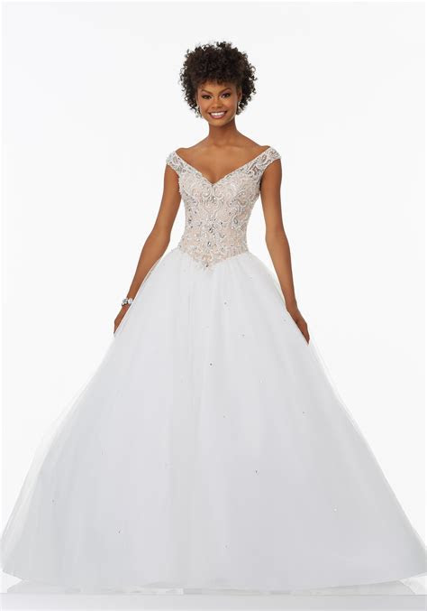Prom Ballgown with Beaded and Embroidered Bodice   Style