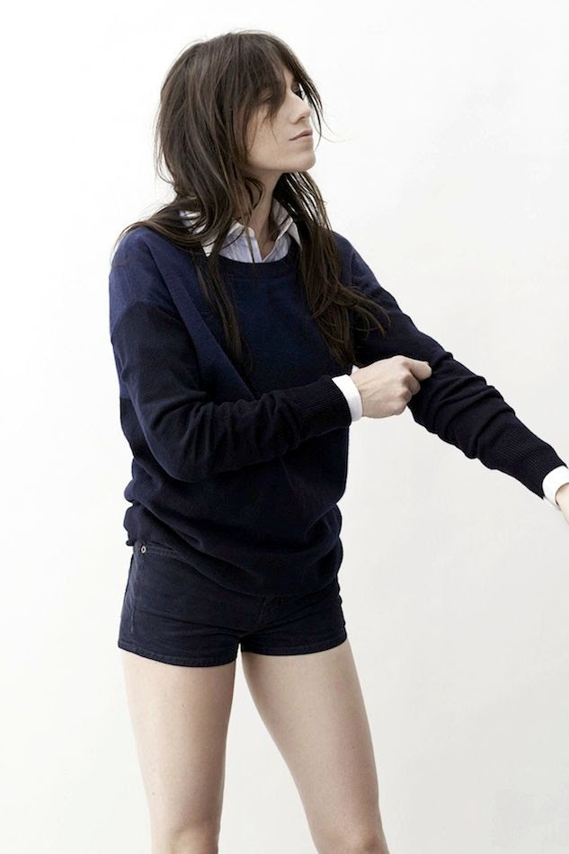 Le Fashion Blog -- Charlotte Gainsbourg x Current Elliott Collection -- French Style -- Color Block Sweater & Shorts -- photo 1-Le-Fashion-Blog-Charlotte-Gainsbourg-Current-Elliott-Collection-Color-Block-Sweater-Shorts.jpg