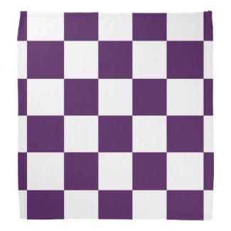 Checkered Purple and White Kerchief