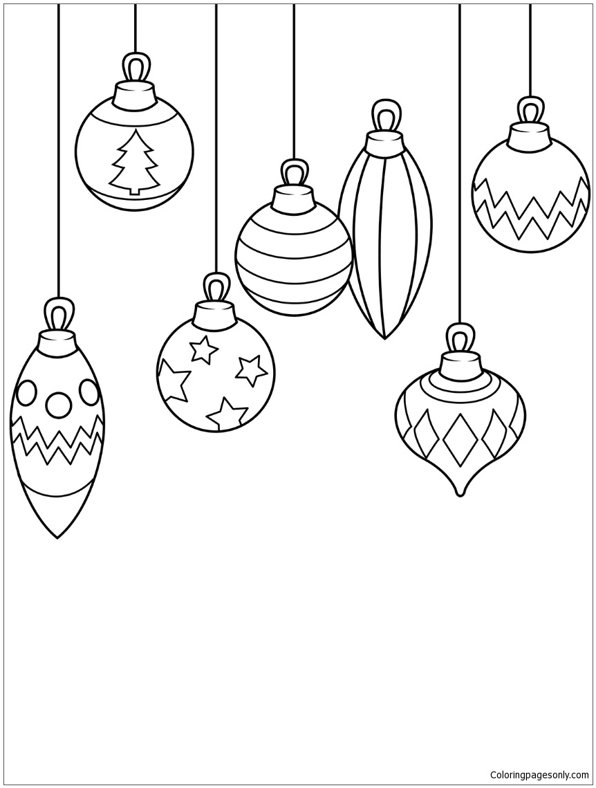 Christmas Ornaments Coloring Page - Free Coloring Pages Online