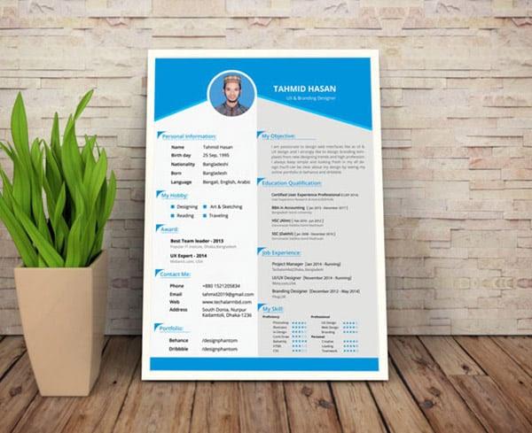 50+ Beautiful Free Resume CV Templates in Ai, Indesign  PSD Formats – Designbolts