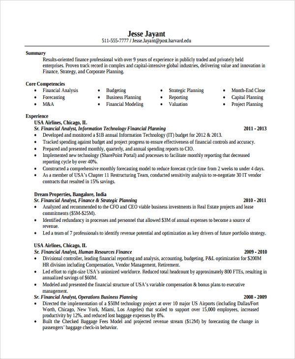 Finance Internship Resume