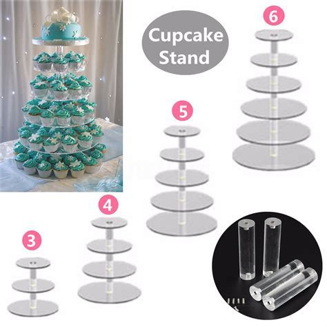 3/4/5 Tier Circle Round Acrylic Cupcake Party Wedding Cup