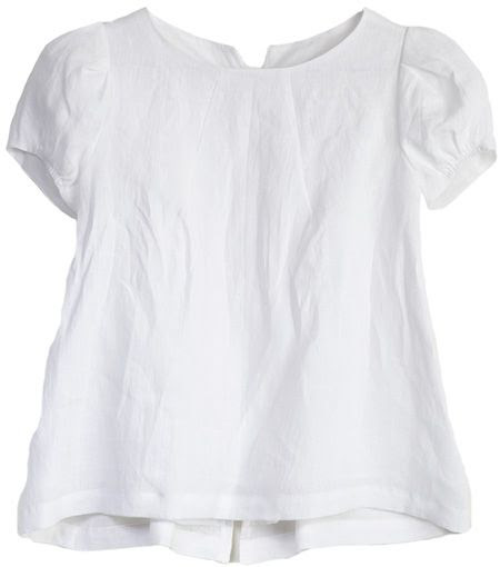 puff linen top in white