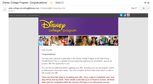 Disney College Program: Congratulations! email