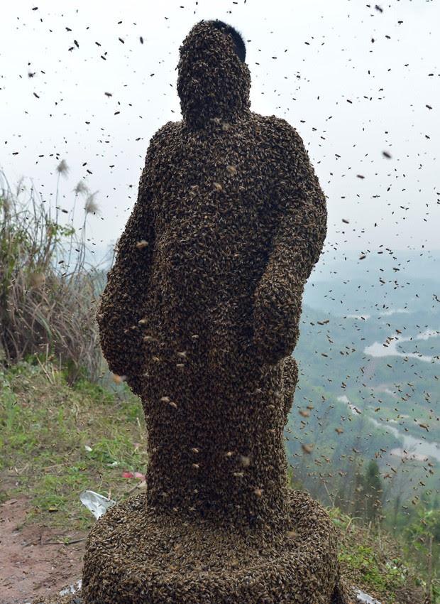 'Roupa' composta por mais de 460 mil abelhas pesava mais de 45 kg (Foto: STR/AFP)