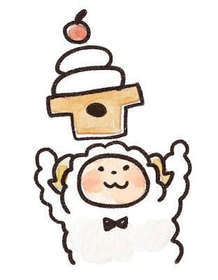 フリー素材 鏡餅と蝶ネクタイの羊のキャラクターを描いたイラスト
