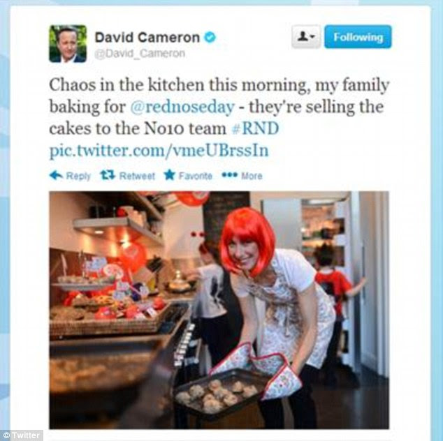 The Prime Minister tweeted a picture of his wife in the kitchen this morning saying 'Chaos in the kitchen this morning, my family baking for @rednoseday'