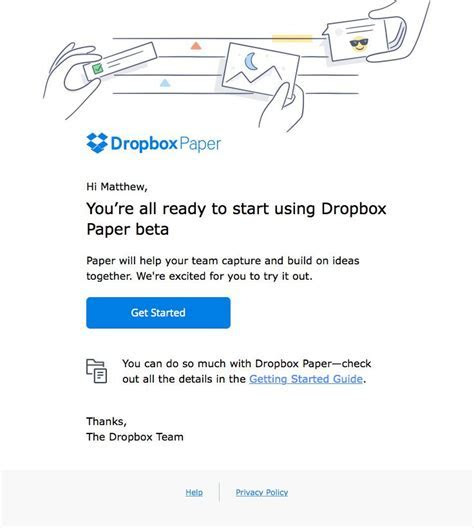Dropbox sent this email with the subject line: Welcome to