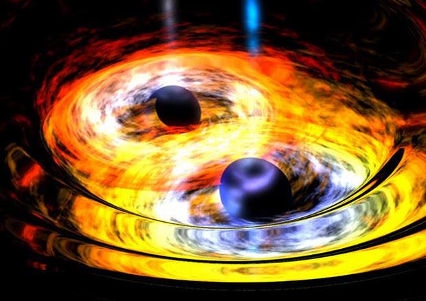Rappresentazione artistica di una collisione di buchi neri (fonte: NASA) © Ansa