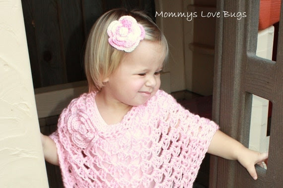Pull Over Sweater - Crocheted with attached Flower detail - Newborn through 6T Sizing