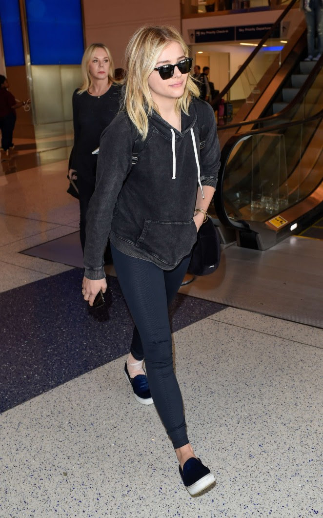 Chloe Moretz in Jeans at LAX Airport -03