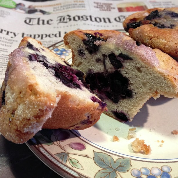 The Original Jordan Marsh Blueberry Muffins Sliced